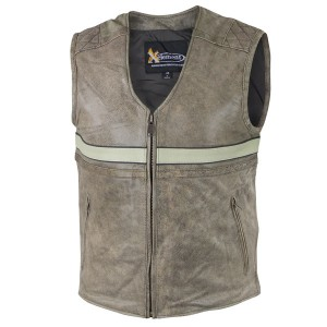 Xelement Mens 'BXU1904 Burn Rubber' Tan Leather Vest with Gun Pocket