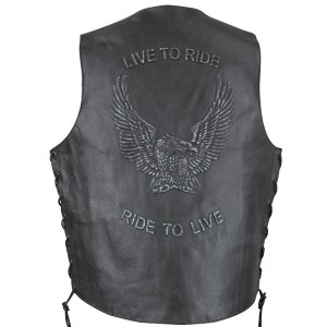 Xelement VE 9700 Embossed Live to Ride Eagle Leather Vest with Concealed Gun Pocket