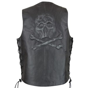 Xelement VE 9710 Embossed Skull Crossbones Leather Vest with Concealed Gun Pocket