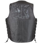 Xelement VE 9720 Embossed Eagle Head Stars Leather Vest with Concealed Gun Pocket