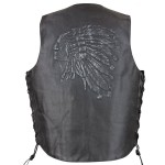 Xelement VE 9730 Embossed Indian Head Leather Vest with Concealed Gun Pocket