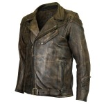 Distressed Brown Classic Biker Cowhide Leather Jacket MJ545DB
