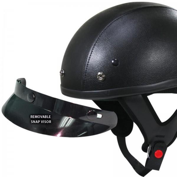 Outlaw Dark Rider Black-Leather Half Helmet